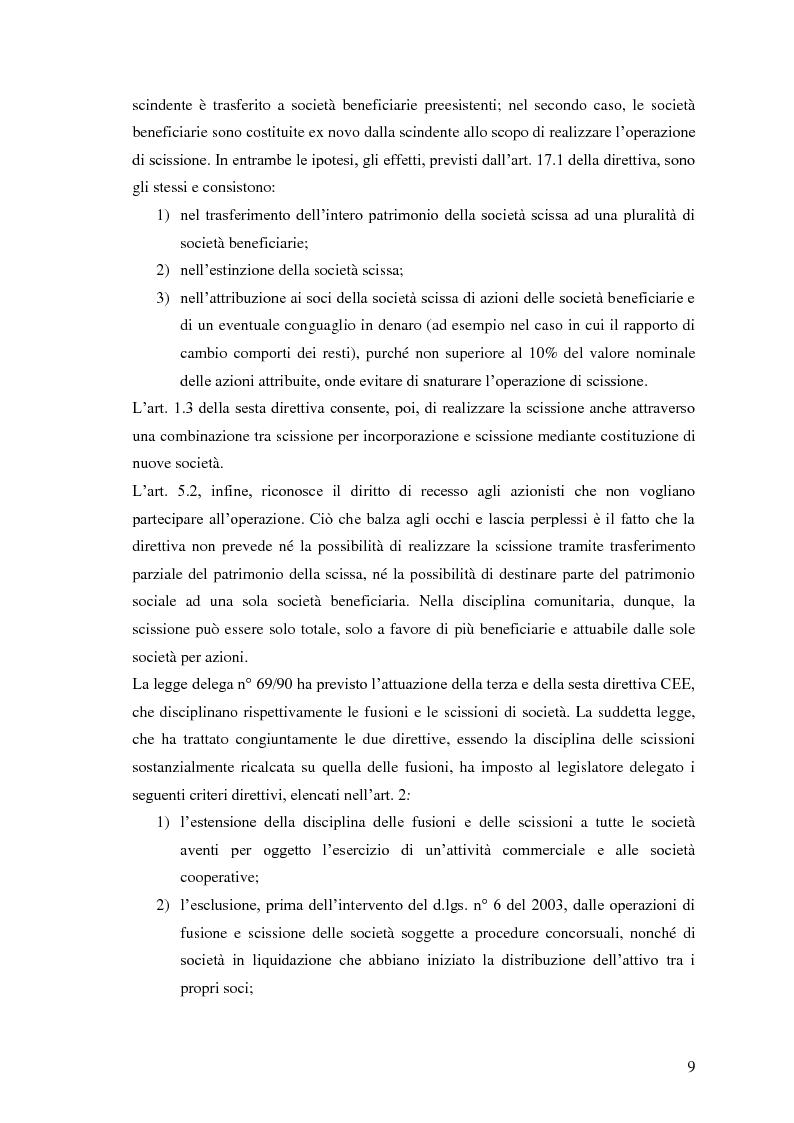 Anteprima della tesi: La scissione non proporzionale di società, Pagina 9