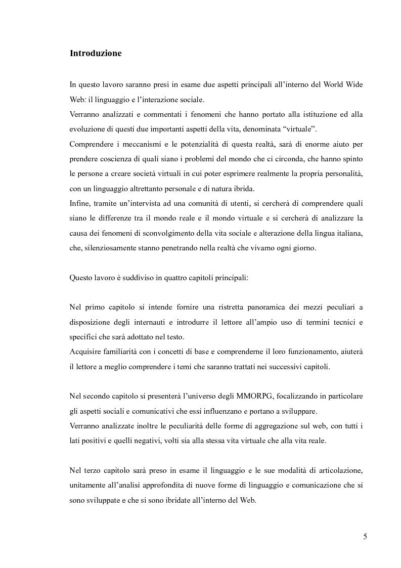 Anteprima della tesi: Lingua, linguaggio ed interazione sociale nel World Wide Web, Pagina 1