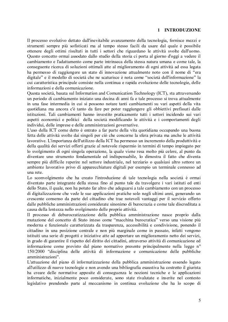 Anteprima della tesi: Impiego della PEC in ambito amministrativo, Pagina 1