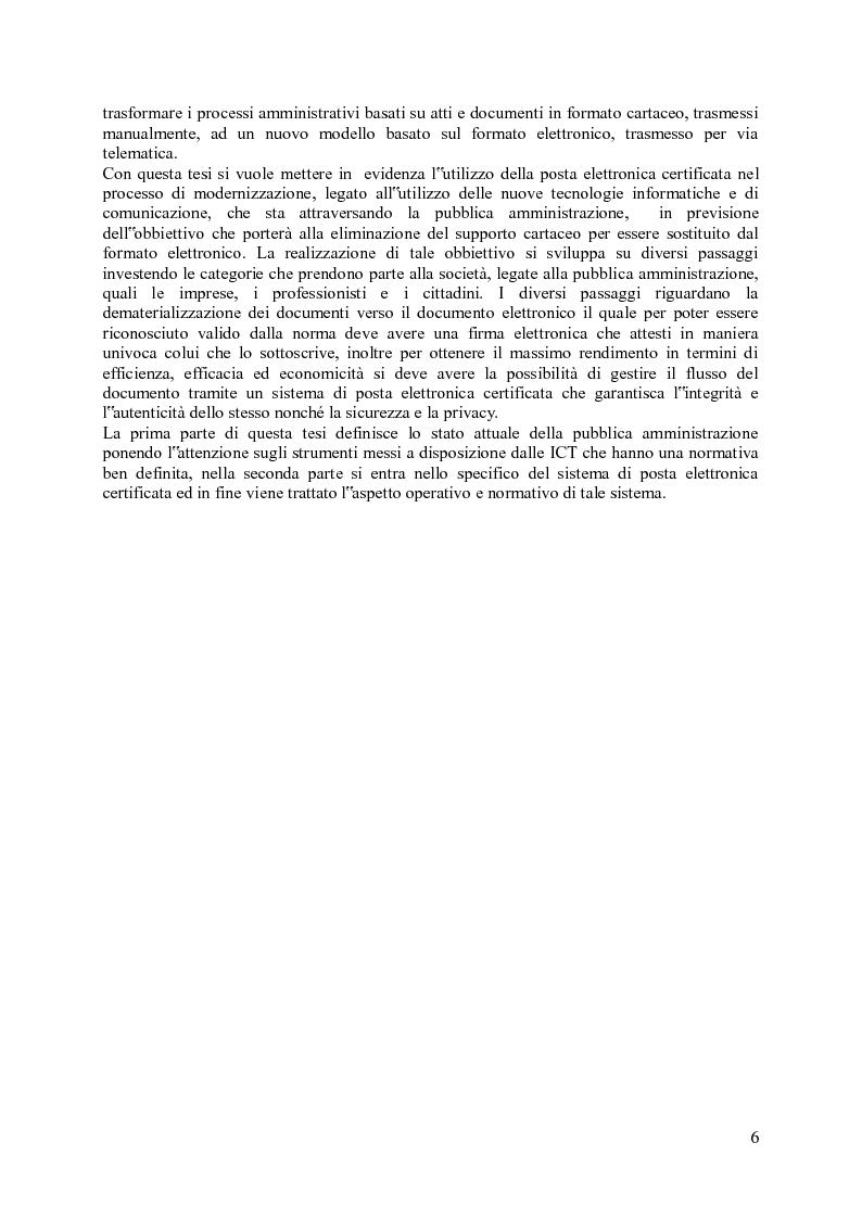 Anteprima della tesi: Impiego della PEC in ambito amministrativo, Pagina 2