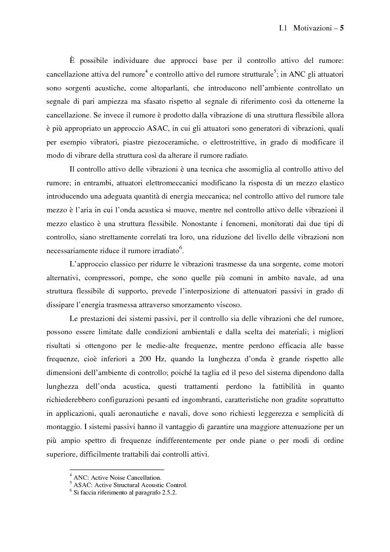Anteprima della tesi: Il controllo attivo del rumore e delle vibrazioni a bordo delle navi - Stato dell'arte e prospettive future, Pagina 5