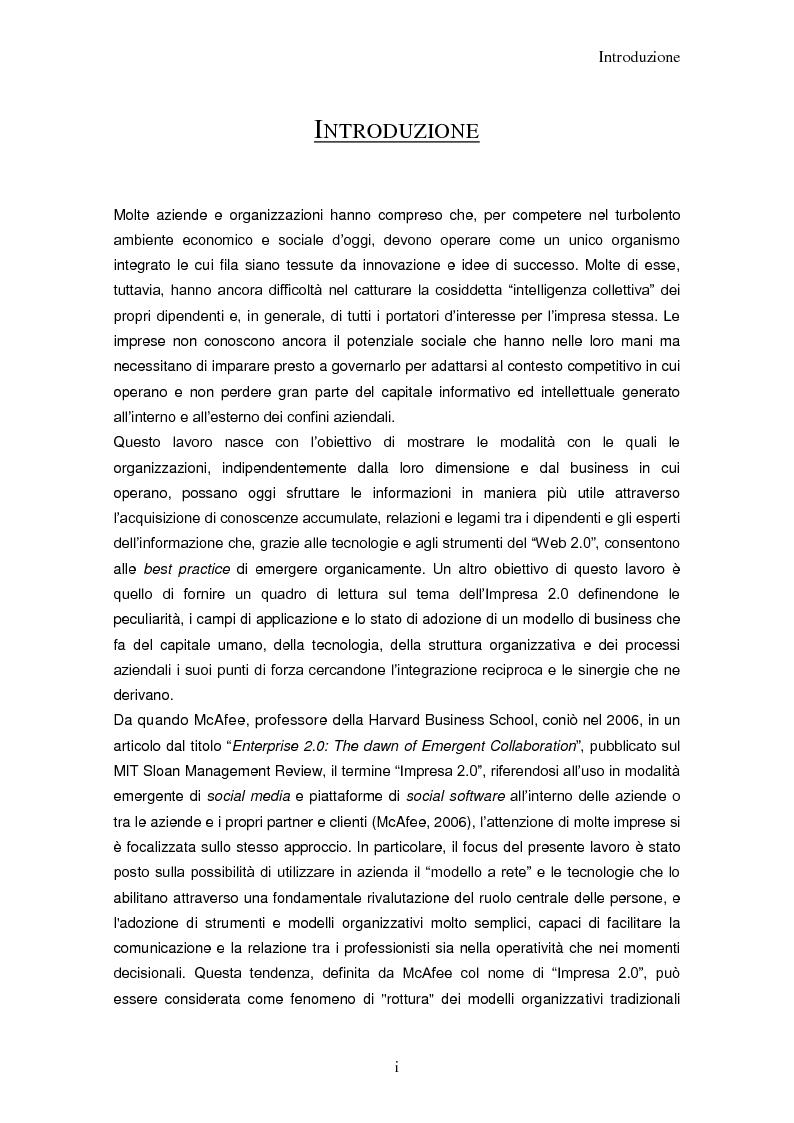 Anteprima della tesi: Impresa 2.0: nuovi paradigmi per organizzazione, innovazione e comunicazione digitale, Pagina 1