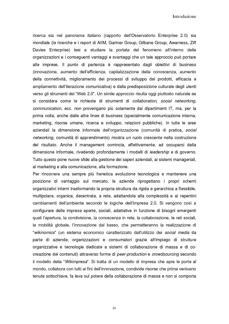 Anteprima della tesi: Impresa 2.0: nuovi paradigmi per organizzazione, innovazione e comunicazione digitale, Pagina 4
