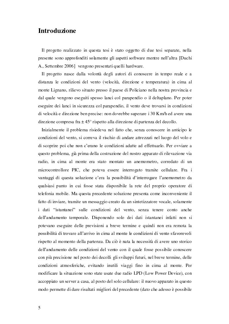 Anteprima della tesi: Progettazione di una stazione anemometrica: aspetti software, Pagina 1