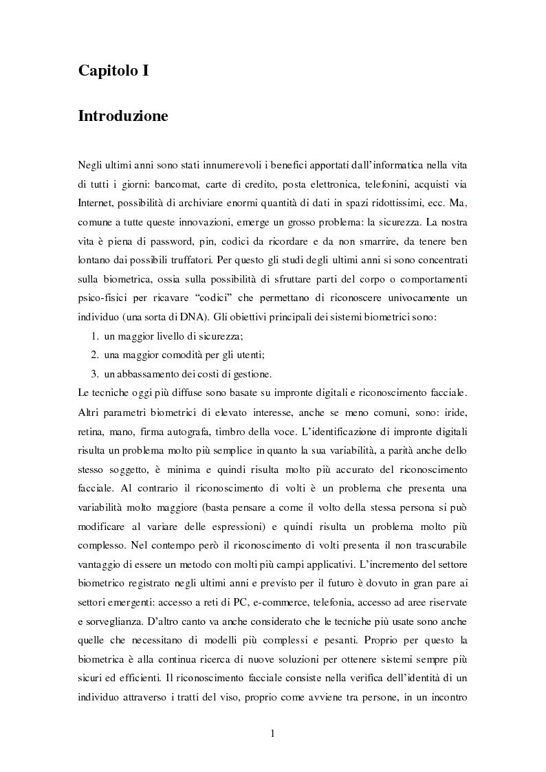 Anteprima della tesi: Analisi comparativa di tecniche di rappresentazione per il riconoscimento automatico di volti, Pagina 1