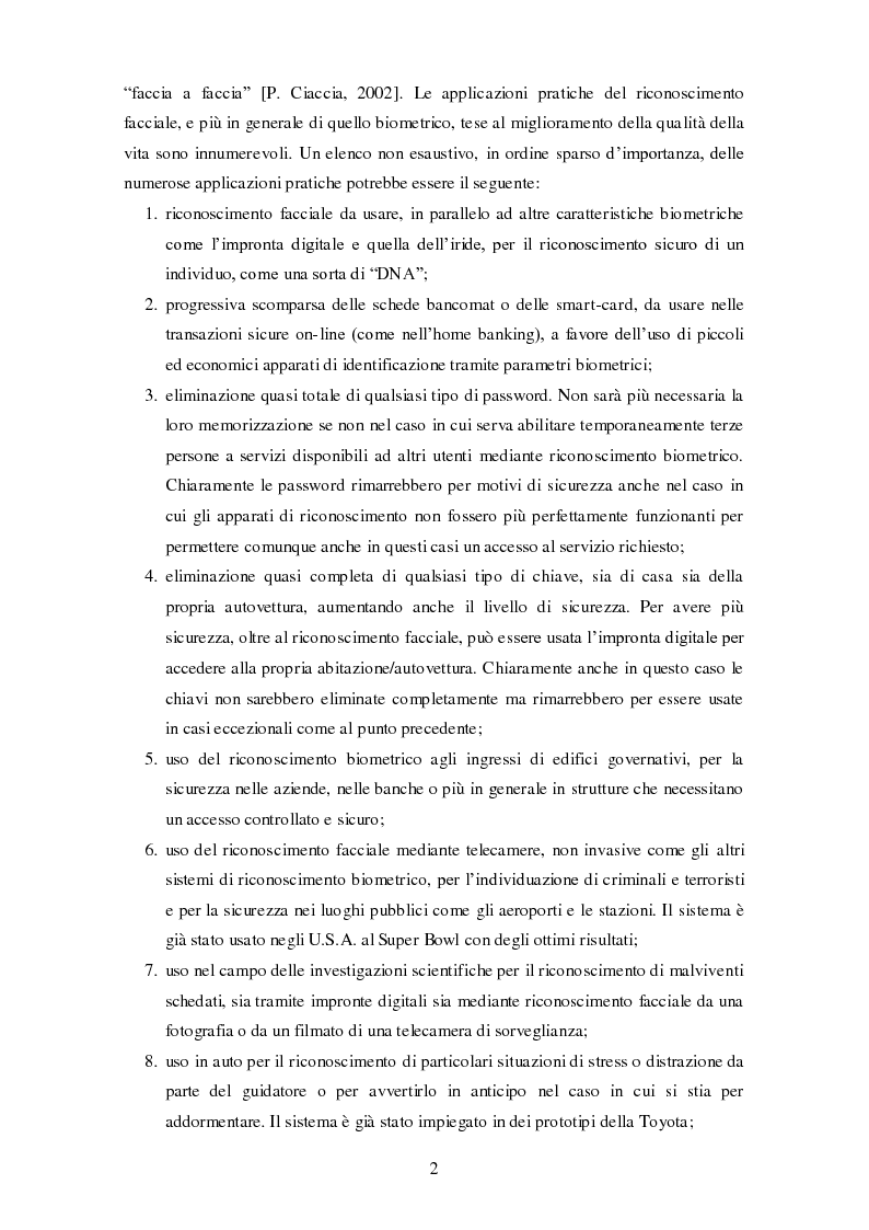 Anteprima della tesi: Analisi comparativa di tecniche di rappresentazione per il riconoscimento automatico di volti, Pagina 2