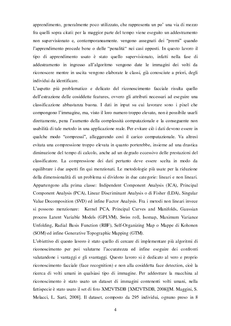 Anteprima della tesi: Analisi comparativa di tecniche di rappresentazione per il riconoscimento automatico di volti, Pagina 4