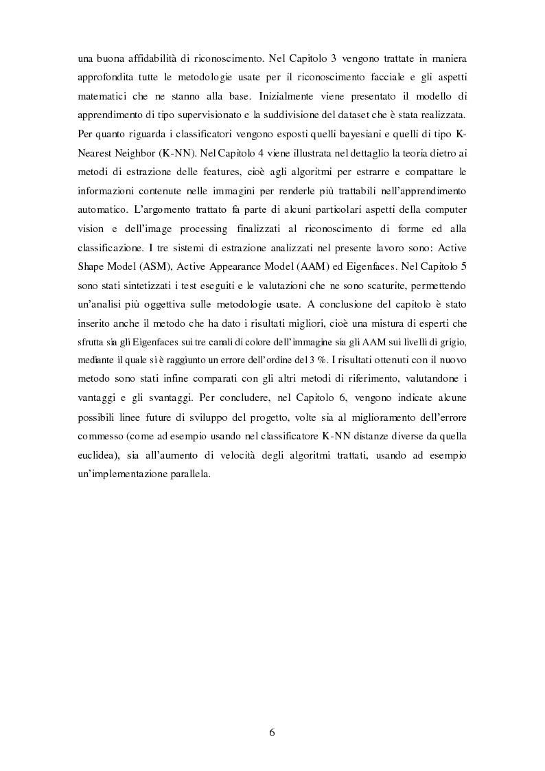 Anteprima della tesi: Analisi comparativa di tecniche di rappresentazione per il riconoscimento automatico di volti, Pagina 6