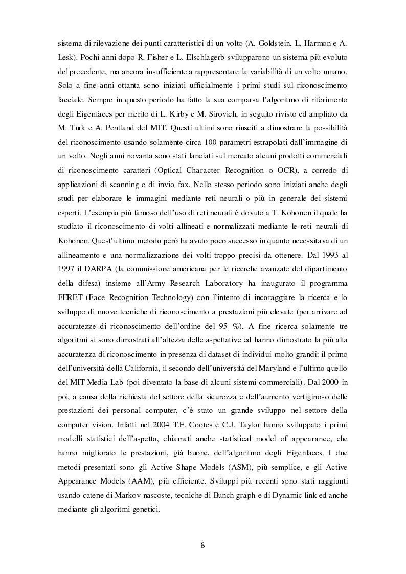 Anteprima della tesi: Analisi comparativa di tecniche di rappresentazione per il riconoscimento automatico di volti, Pagina 8