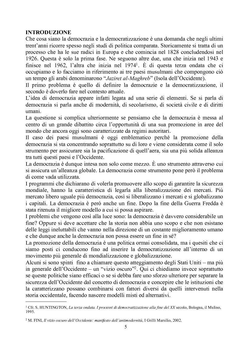 Anteprima della tesi: Prospettive di democratizzazione: i paesi del Maghreb, Pagina 1