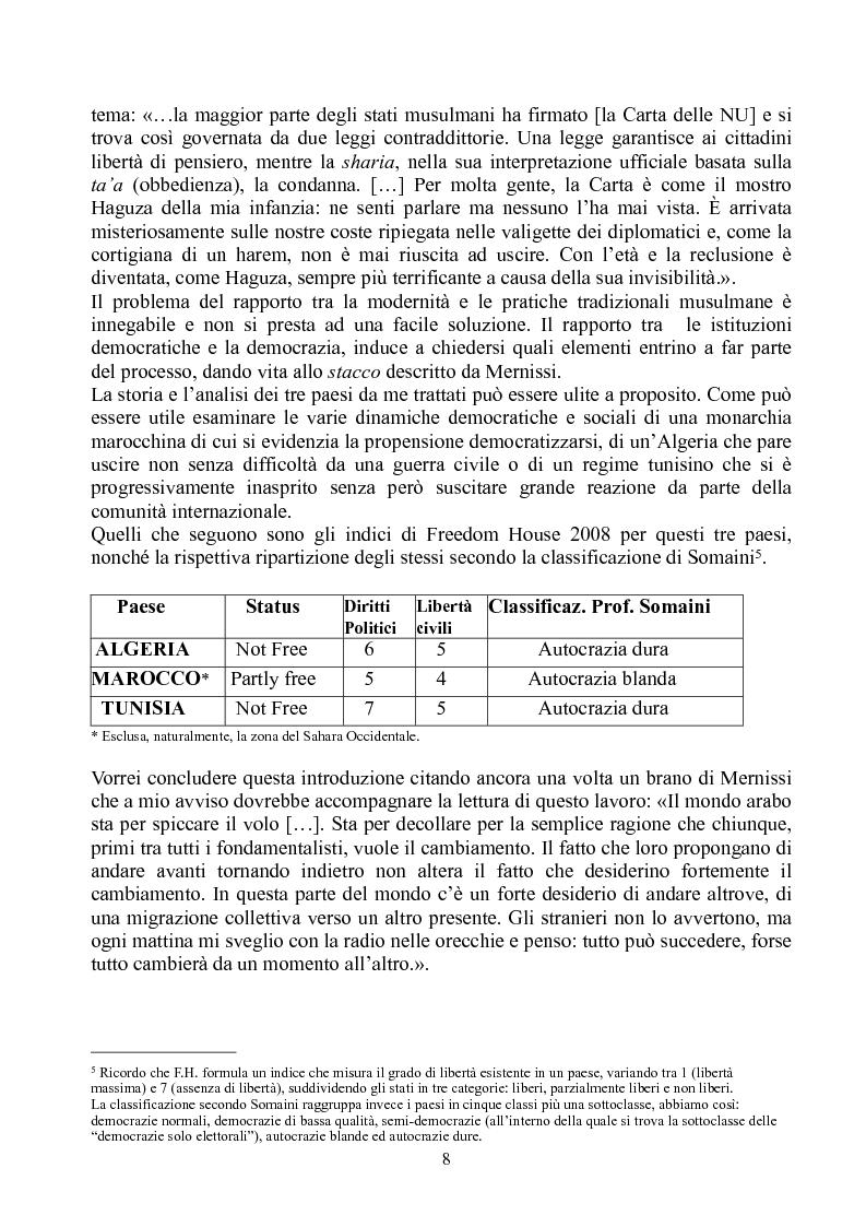 Anteprima della tesi: Prospettive di democratizzazione: i paesi del Maghreb, Pagina 4