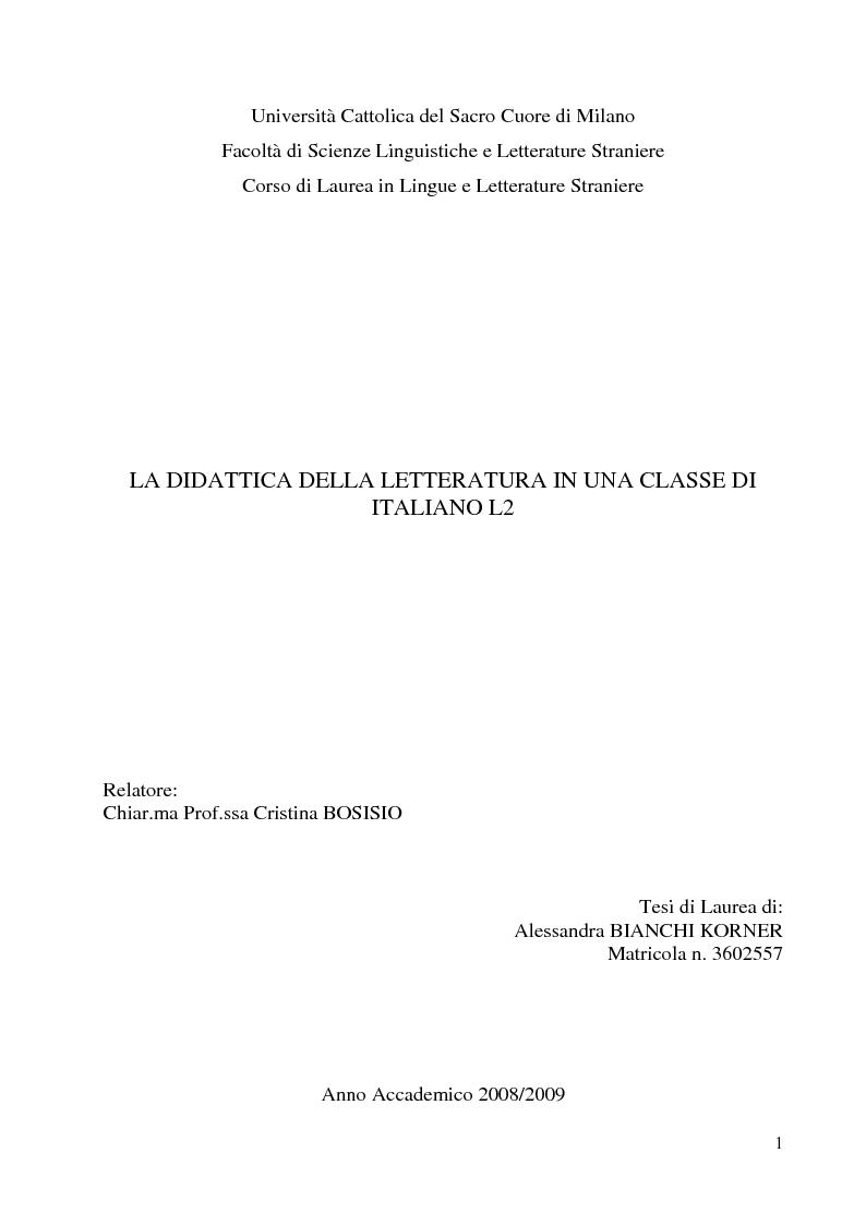 Anteprima della tesi: La didattica della letteratura in una classe di Italiano L2, Pagina 1
