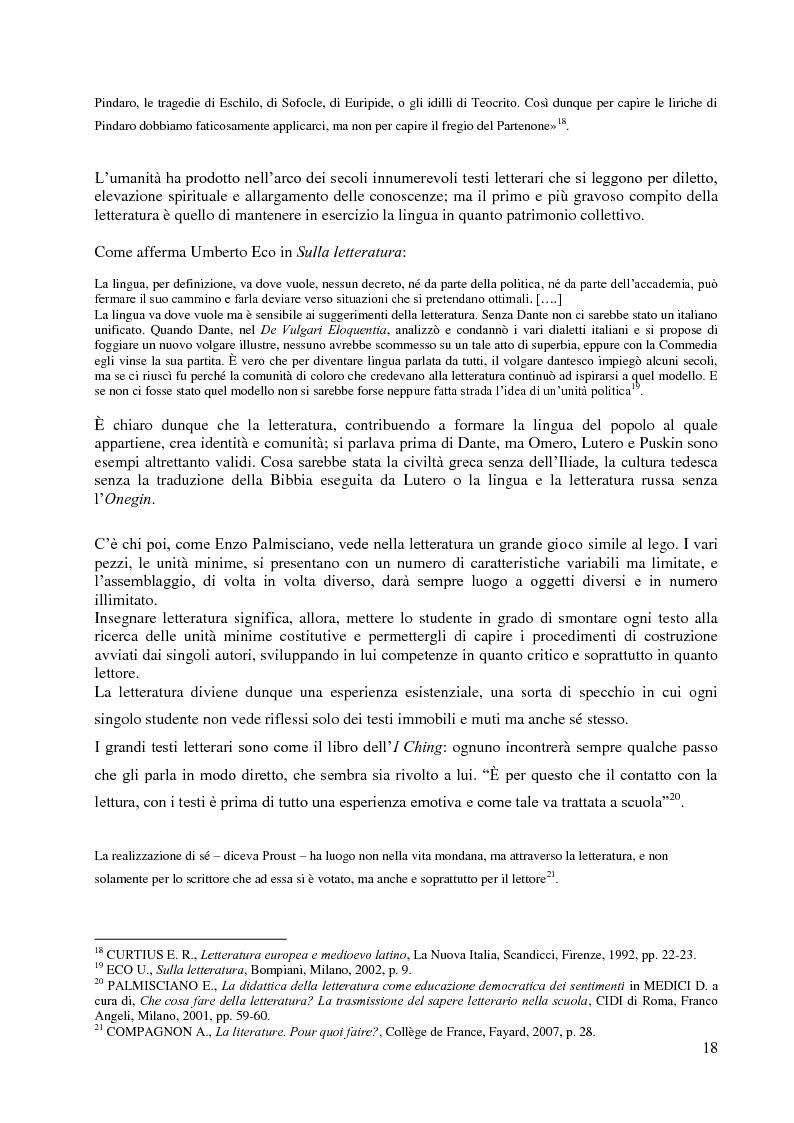 Anteprima della tesi: La didattica della letteratura in una classe di Italiano L2, Pagina 10