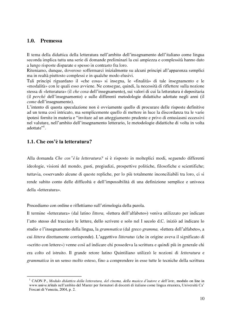 Anteprima della tesi: La didattica della letteratura in una classe di Italiano L2, Pagina 2