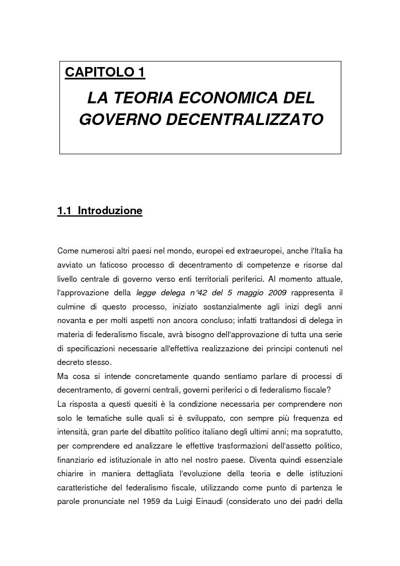 Anteprima della tesi: La legge delega sul federalismo fiscale 42/2009: problemi e prospettive, Pagina 1