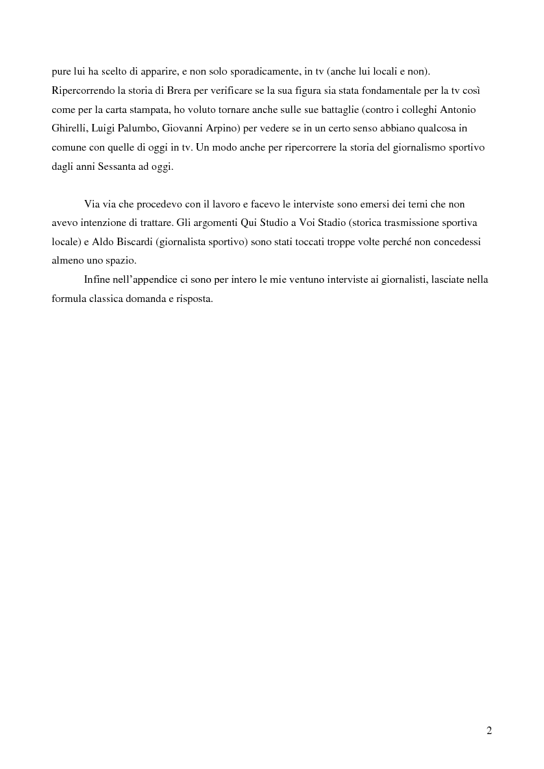 Anteprima della tesi: Il giornalismo sportivo. Il rapporto tra la carta stampata e le tv locali da Gianni Brera ad oggi., Pagina 2