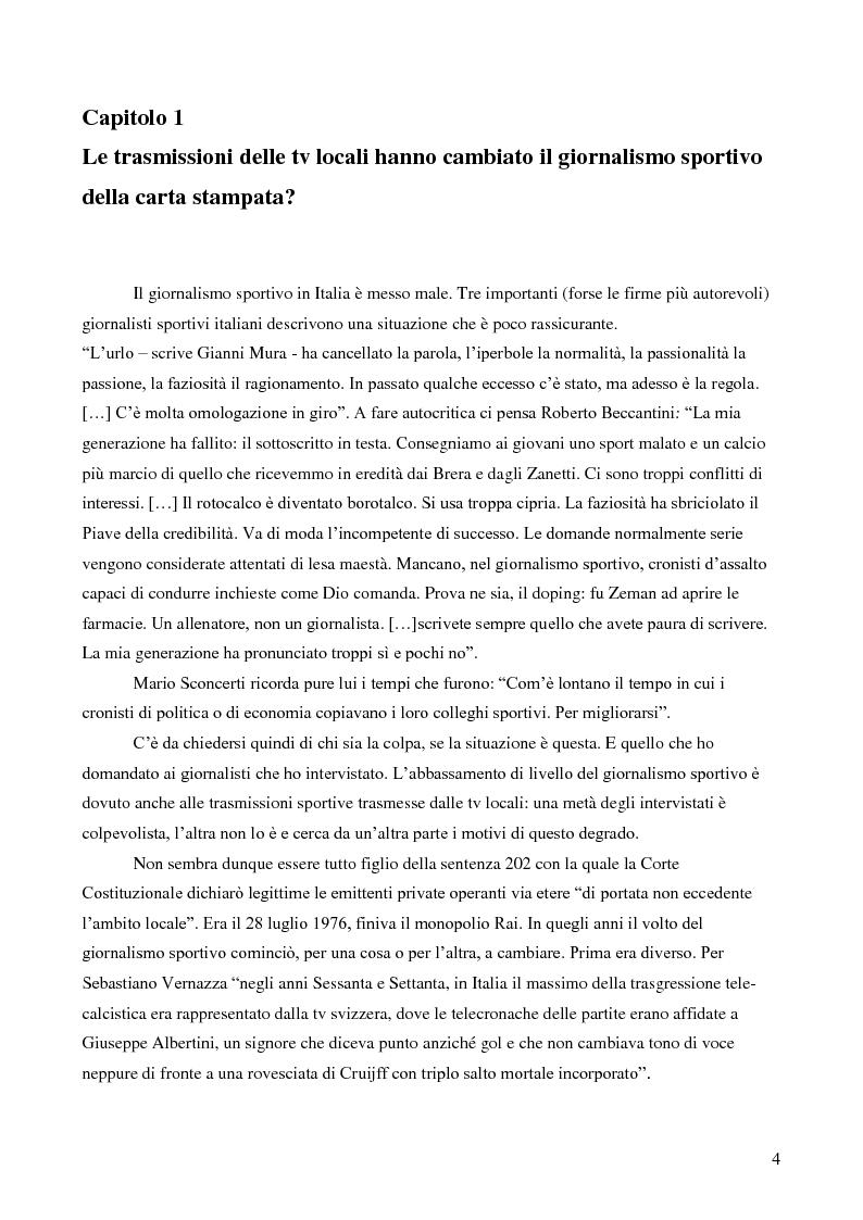 Anteprima della tesi: Il giornalismo sportivo. Il rapporto tra la carta stampata e le tv locali da Gianni Brera ad oggi., Pagina 4