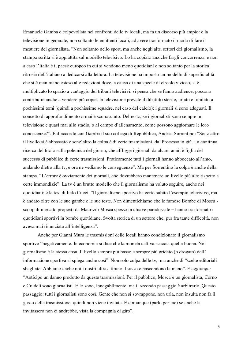 Anteprima della tesi: Il giornalismo sportivo. Il rapporto tra la carta stampata e le tv locali da Gianni Brera ad oggi., Pagina 5