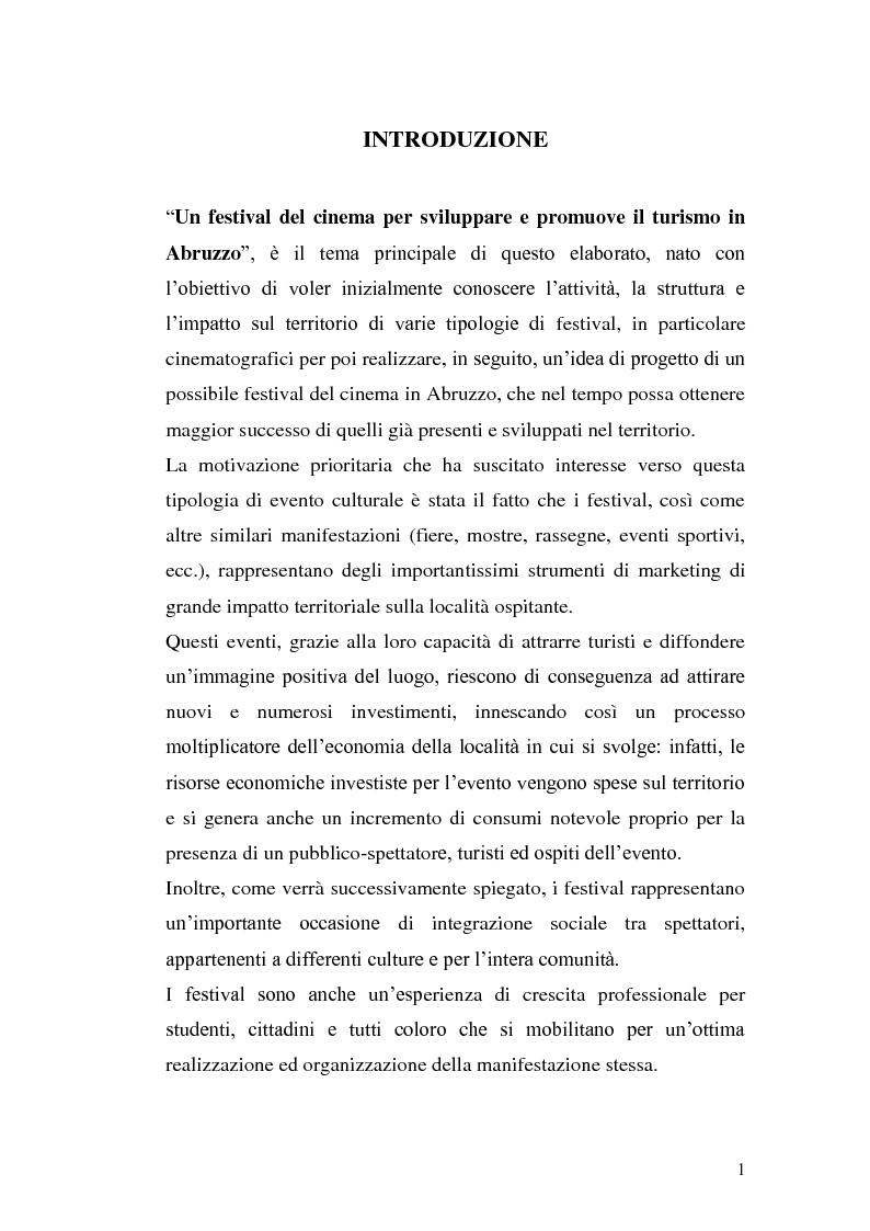 Anteprima della tesi: Un film festival in Abruzzo come promotore dello sviluppo turistico, Pagina 1