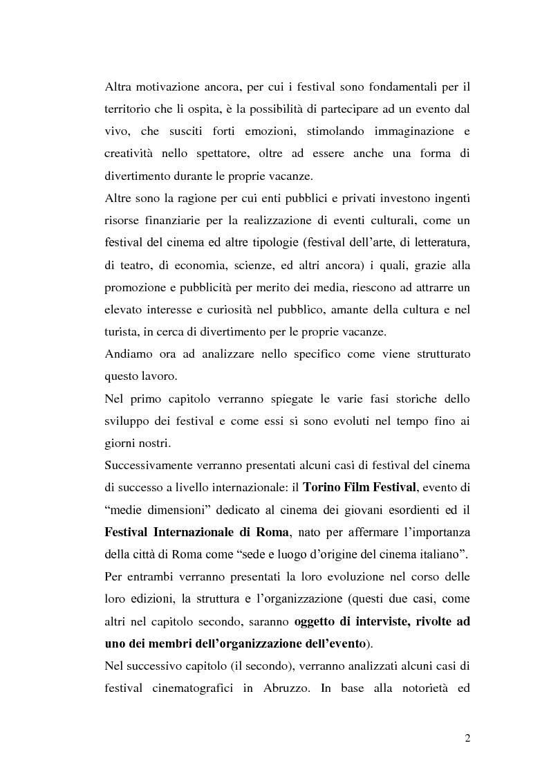 Anteprima della tesi: Un film festival in Abruzzo come promotore dello sviluppo turistico, Pagina 2