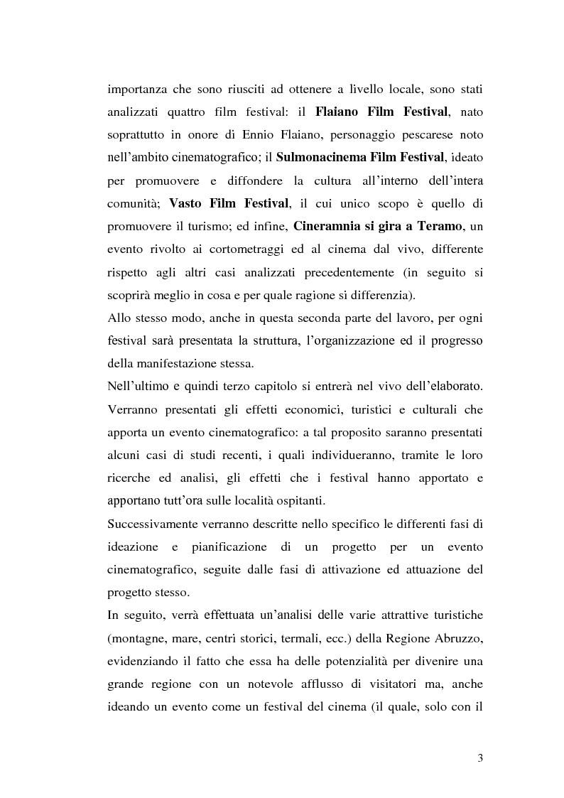 Anteprima della tesi: Un film festival in Abruzzo come promotore dello sviluppo turistico, Pagina 3