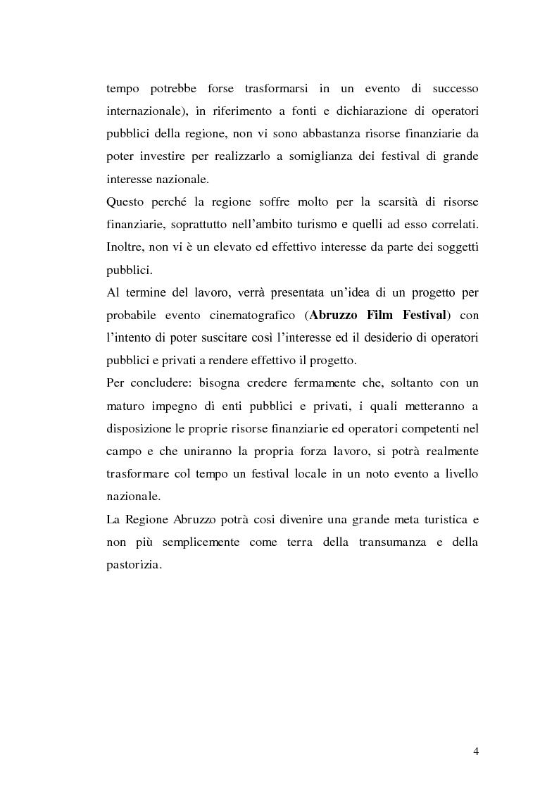 Anteprima della tesi: Un film festival in Abruzzo come promotore dello sviluppo turistico, Pagina 4