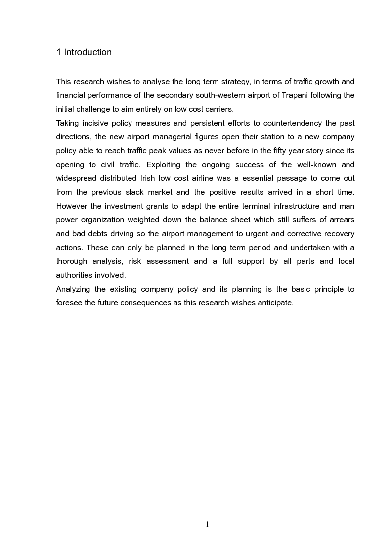 Anteprima della tesi: Analysis and long term strategy of the secondary south-western airport of Trapani-Birgi, Pagina 1