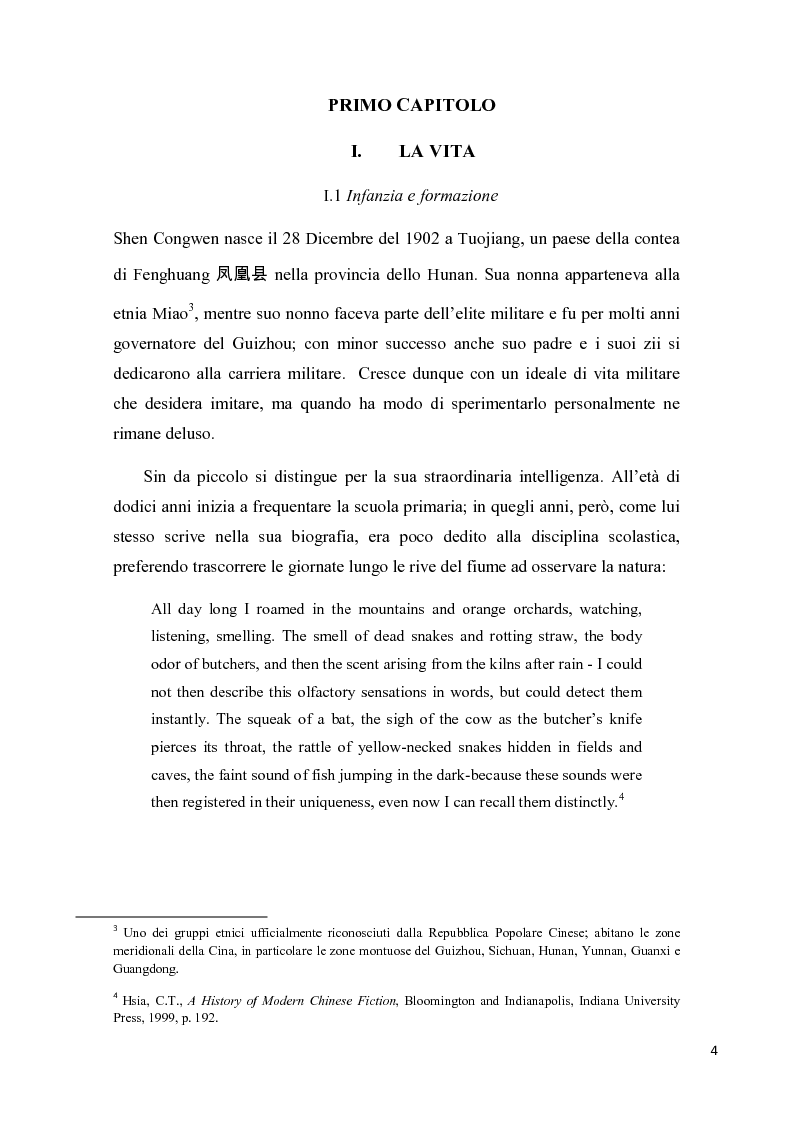 Anteprima della tesi: Shen Congwen: tra antico e moderno, Pagina 4
