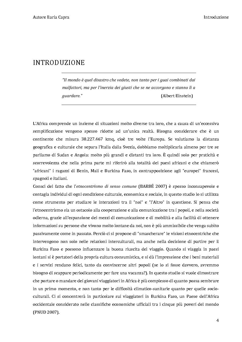 Anteprima della tesi: L'incontro con l'Altro - Giovani viaggiatori in Burkina Faso, Pagina 1