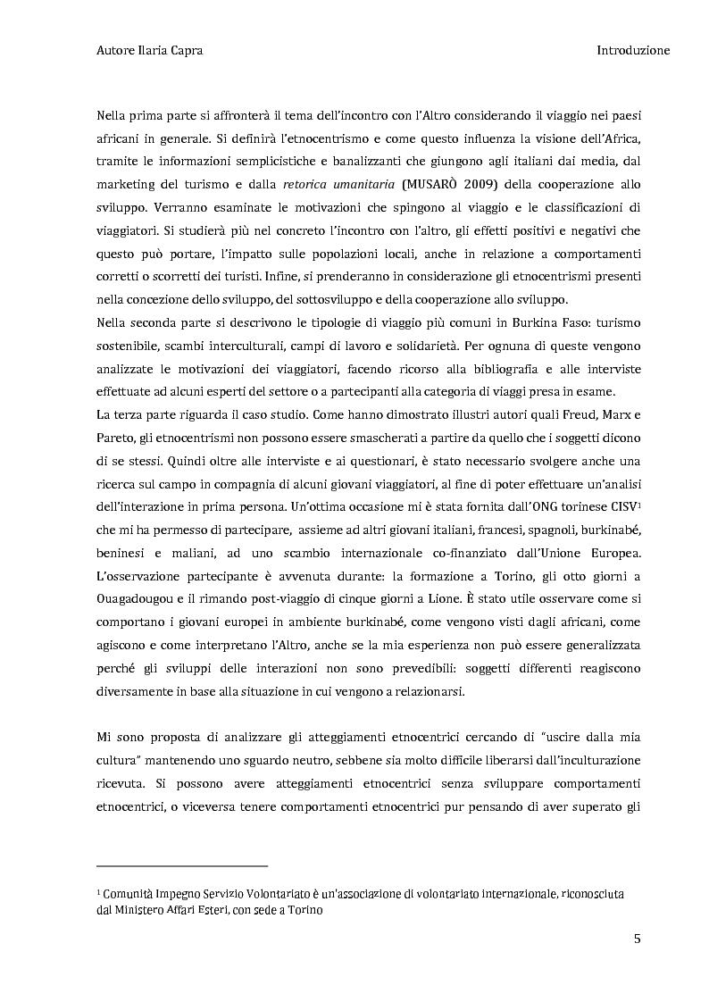 Anteprima della tesi: L'incontro con l'Altro - Giovani viaggiatori in Burkina Faso, Pagina 2