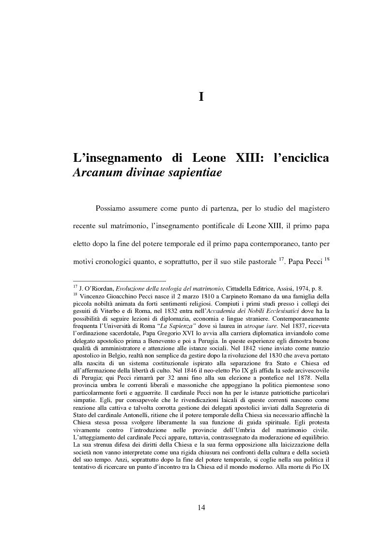 Anteprima della tesi: Il matrimonio nel Magistero della Chiesa cattolica: dall'Arcanum divinae sapientiae (1880) alla Humanae vitae (1968), Pagina 12