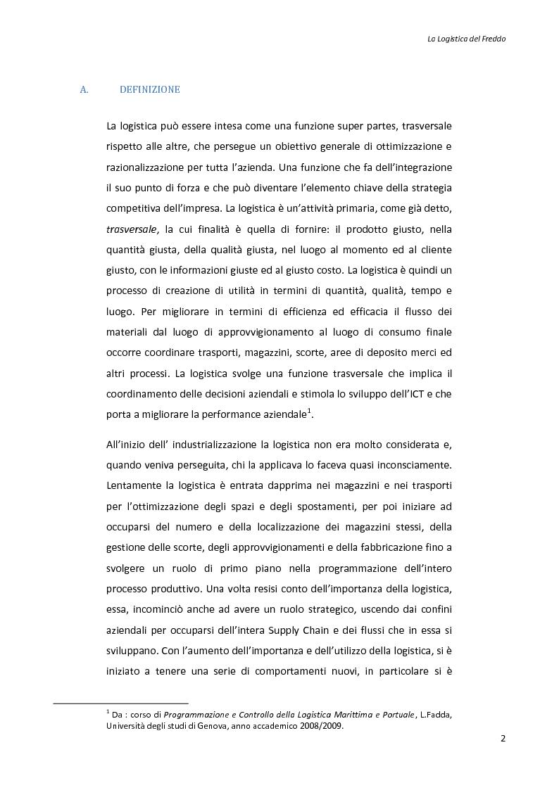 Anteprima della tesi: La logistica del freddo - Cold chain management, Pagina 1