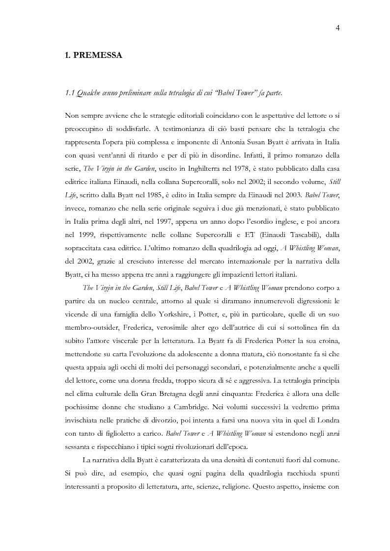 Anteprima della tesi: Visita guidata a ''Babel Tower'' di Antonia Susan Byatt, Pagina 1
