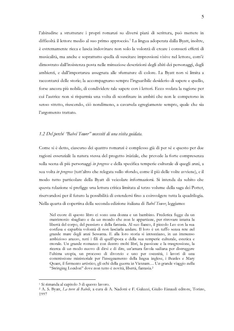 Anteprima della tesi: Visita guidata a ''Babel Tower'' di Antonia Susan Byatt, Pagina 2