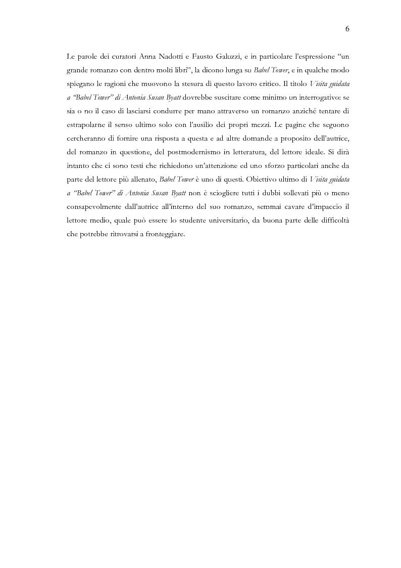 Anteprima della tesi: Visita guidata a ''Babel Tower'' di Antonia Susan Byatt, Pagina 3
