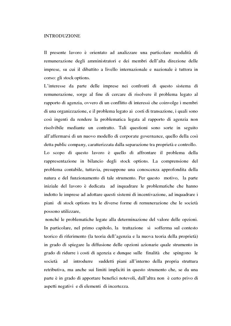 Anteprima della tesi: I piani di stock options. Aspetti economico-aziendali e contabili, Pagina 1