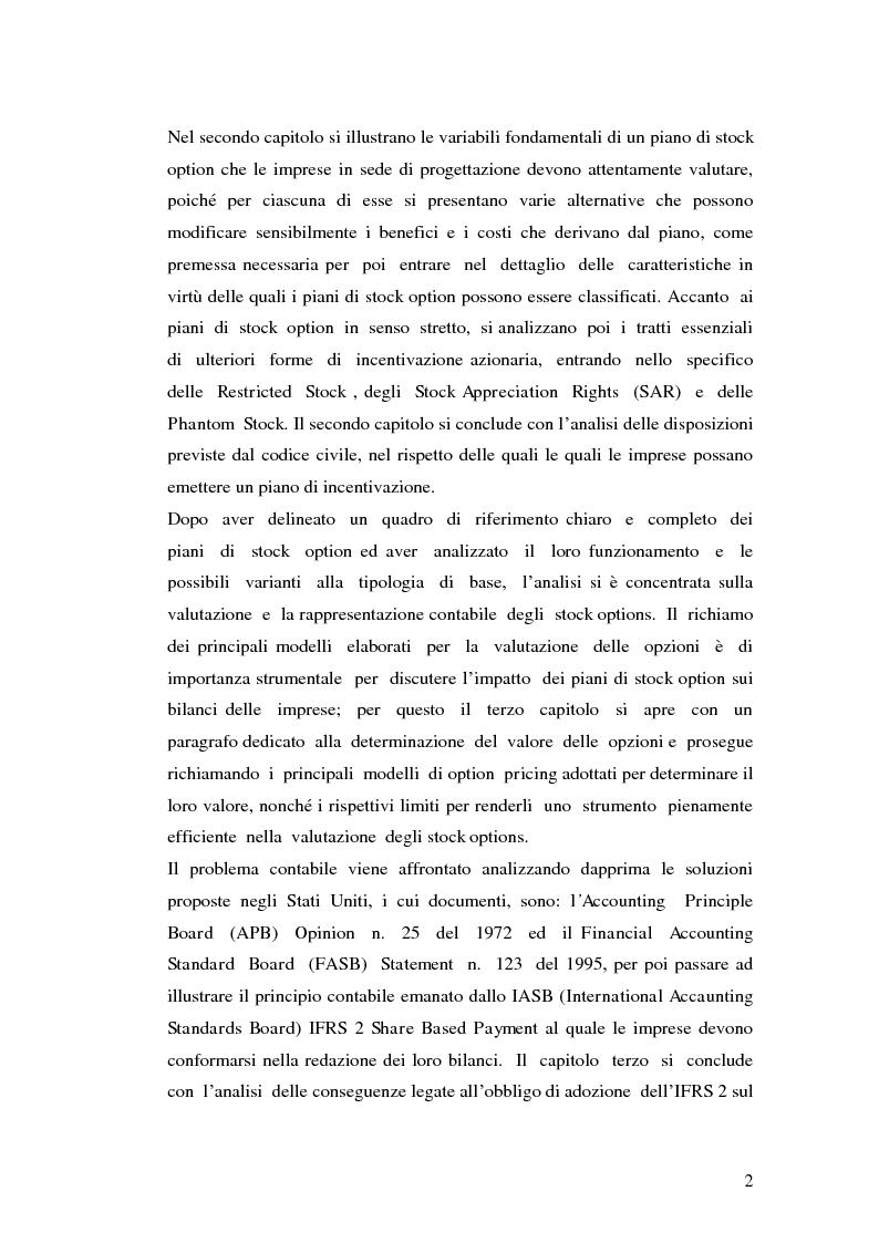 Anteprima della tesi: I piani di stock options. Aspetti economico-aziendali e contabili, Pagina 2