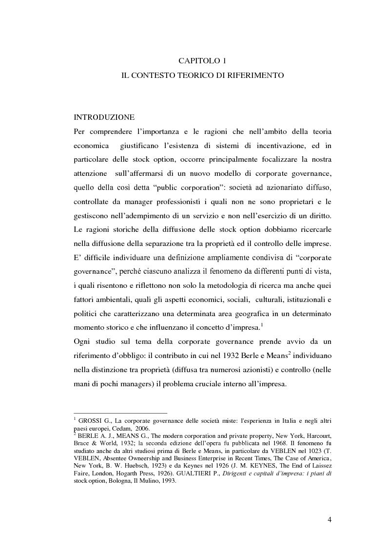 Anteprima della tesi: I piani di stock options. Aspetti economico-aziendali e contabili, Pagina 4