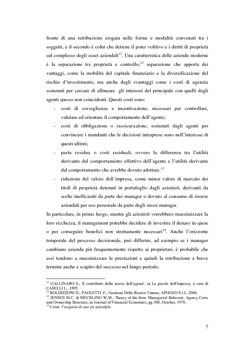 Anteprima della tesi: I piani di stock options. Aspetti economico-aziendali e contabili, Pagina 7