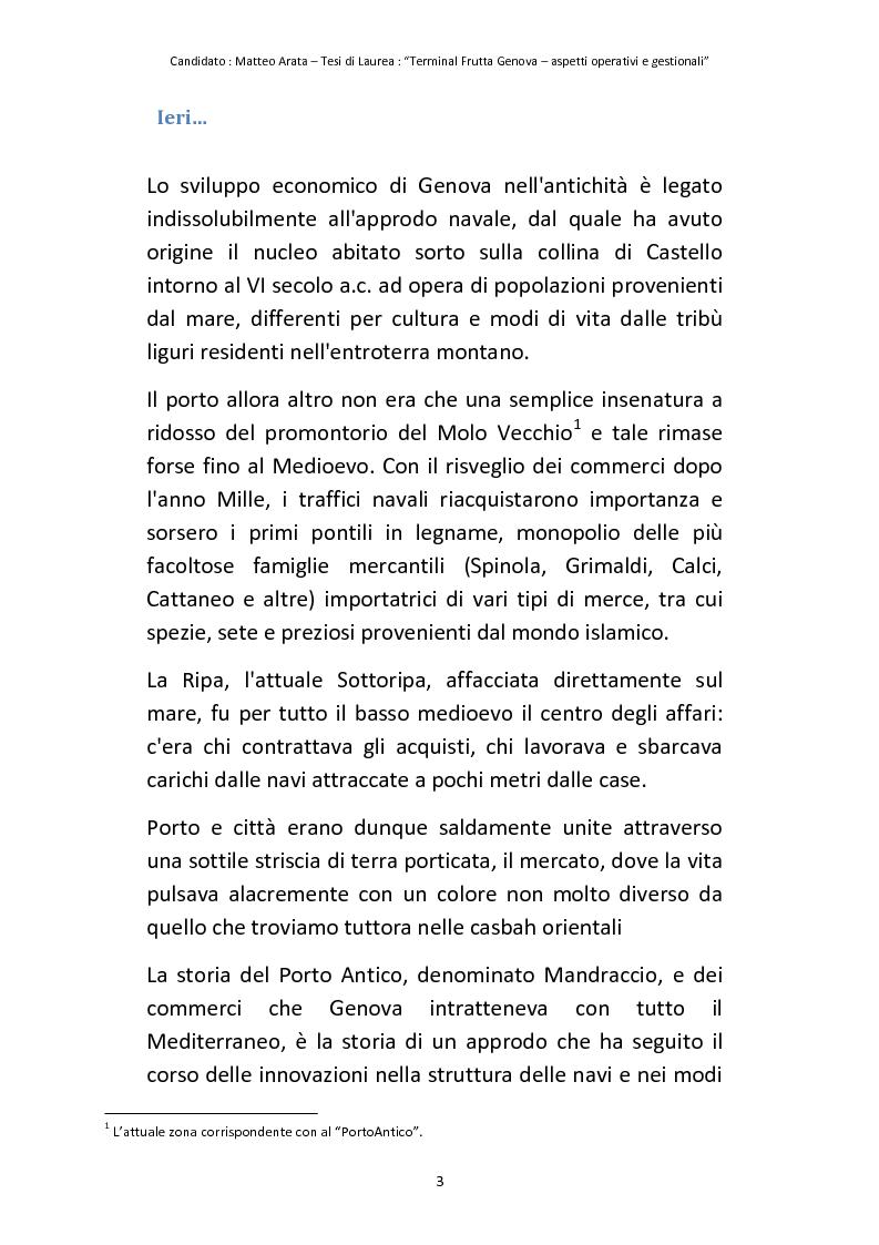 Anteprima della tesi: Terminal Frutta Genova aspetti operativi e gestionali, Pagina 1