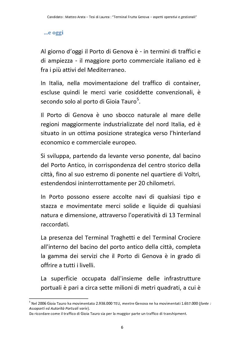 Anteprima della tesi: Terminal Frutta Genova aspetti operativi e gestionali, Pagina 4