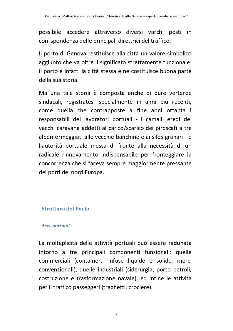 Anteprima della tesi: Terminal Frutta Genova aspetti operativi e gestionali, Pagina 5