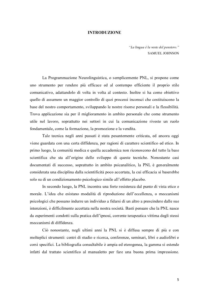 Anteprima della tesi: La programmazione neurolinguistica nella comunicazione aziendale turistica, Pagina 1
