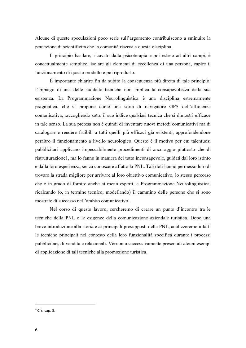 Anteprima della tesi: La programmazione neurolinguistica nella comunicazione aziendale turistica, Pagina 2