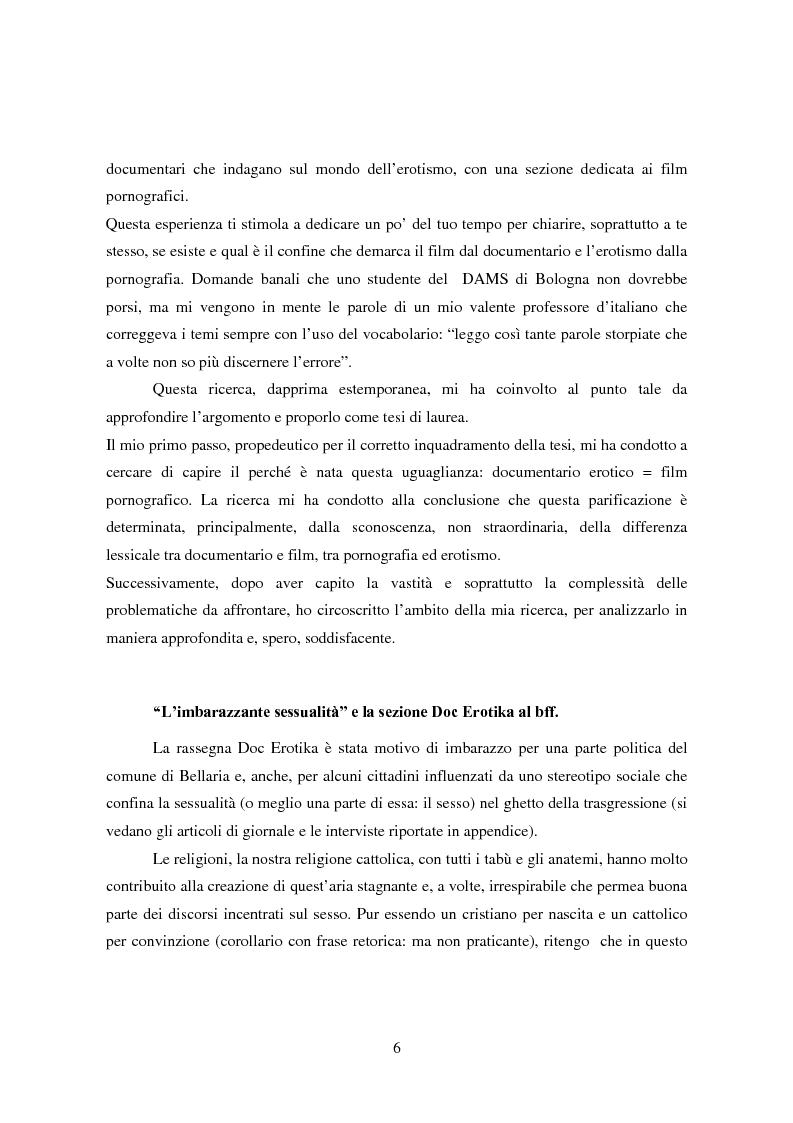 Anteprima della tesi: Tra pornografia ed erotismo: il documentario come strumento didascalico - Il caso Doc Erotika al Bellaria Film Festival, Pagina 3
