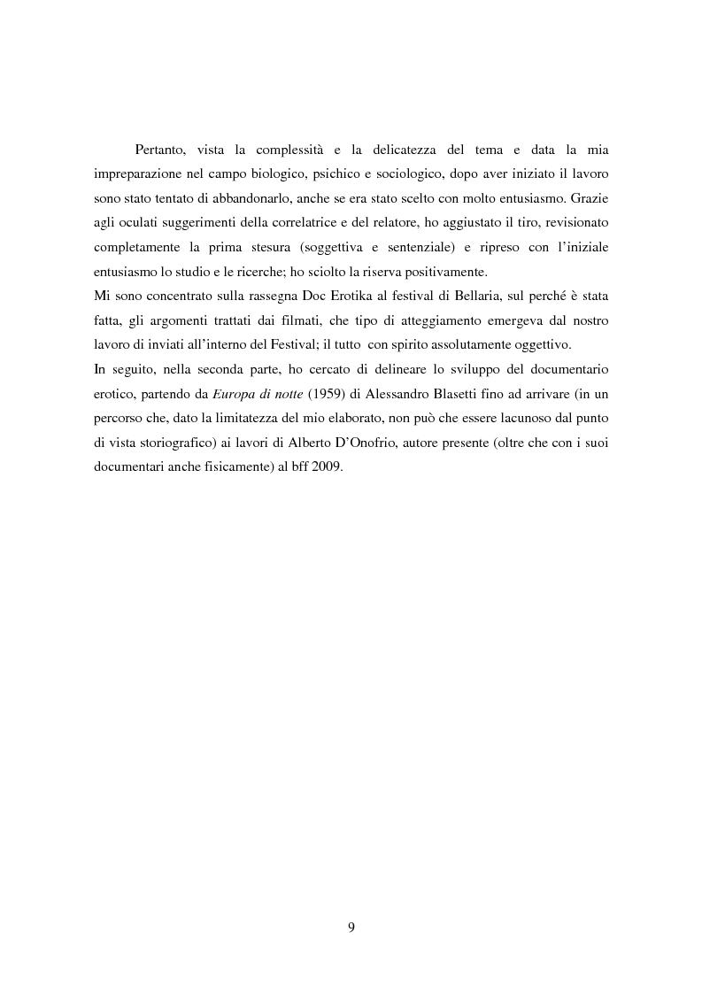 Anteprima della tesi: Tra pornografia ed erotismo: il documentario come strumento didascalico - Il caso Doc Erotika al Bellaria Film Festival, Pagina 6