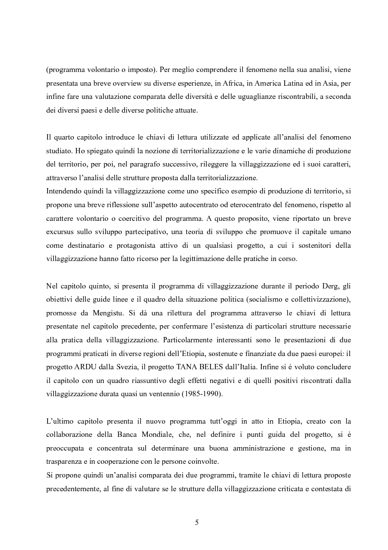 Anteprima della tesi: Analisi della villaggizzazione in Etiopia come processo di territorializzazione, Pagina 3