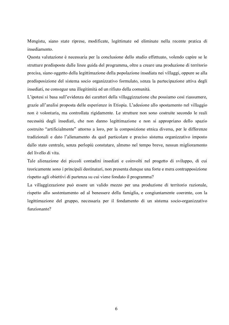 Anteprima della tesi: Analisi della villaggizzazione in Etiopia come processo di territorializzazione, Pagina 4