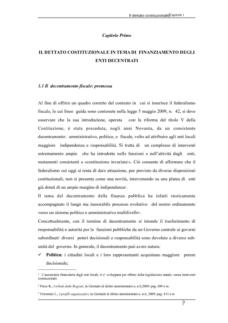Anteprima della tesi: Federalismo fiscale: i riflessi sugli enti territoriali, Pagina 5