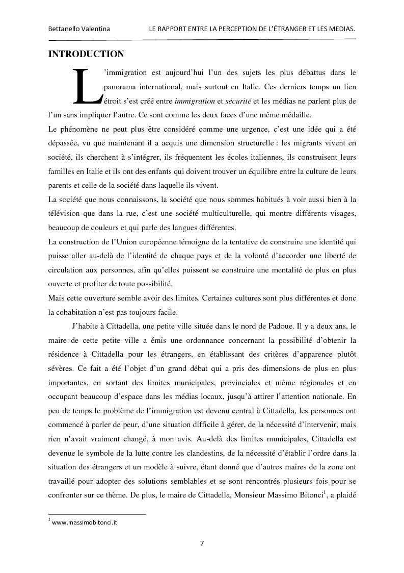 Anteprima della tesi: Le rapport entre la perception de l'étranger et les médias, Pagina 1